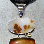 citrine and quartz pendant